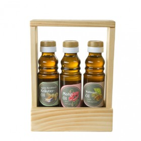 Geschenkset Toni: Ingwer- Knoblauch-Kräuteröl, Mohnöl, Walnussöl
