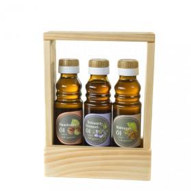 Geschenkset Hochzeit: Haselnussöl, Schwarzkümmelöl, Walnussöl