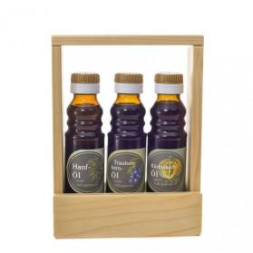 Hanföl, Kürbiskernöl, Traubenkernöl - Geschenkset