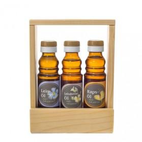 Geschenkset Frau: Leindotteröl, Leinöl, Rapsöl