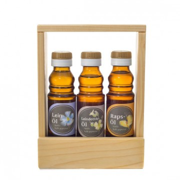 Leinöl, Leindotteröl, Rapsöl - Geschenkset