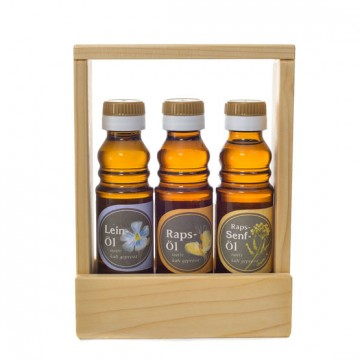 Leinöl, Rapsöl, Raps-Senföl - Geschenkset